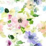 Sömlös modell med blommavattenfärgen Fotografering för Bildbyråer