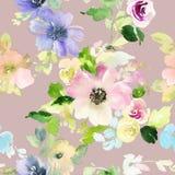 Sömlös modell med blommavattenfärgen Royaltyfri Fotografi