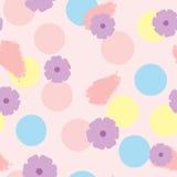 Sömlös modell med blommor, cirklar och penseldrag Dragit by räcka Vattenfärgen färgpulver, skissar pastell Fotografering för Bildbyråer