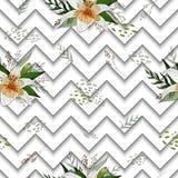 Sömlös modell med blommor för bildtigerlilja på en geometrisk bakgrund royaltyfri illustrationer