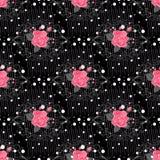 Sömlös modell med blommor för tyg, textil, bokomslag, torkduk Tappningtapetnära förbindelse Kvinnlig prydnad för sommar på svart Arkivfoto