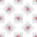 Sömlös modell med blommor för tyg, textil, bokomslag, torkduk Tappningtapetnära förbindelse Kvinnlig prydnad för sommar på vit Royaltyfri Bild
