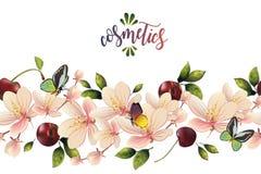 Sömlös modell med blommor och körsbär Arkivfoto