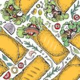 Sömlös modell med burritoen Mexicansk matbakgrund Traditionell mexicansk kokkonst Tecknad illustration för vektor hand kunna vektor illustrationer