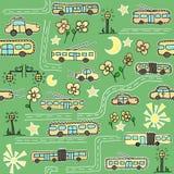 Sömlös modell med bussar och trådbussar stock illustrationer