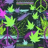 Sömlös modell med cannabissidor, hippiefredsymbol, den etniska prydnaden och grungeborsteslaglängder Abstrakt bakgrund i lapp stock illustrationer