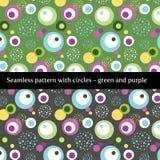 Sömlös modell med cirklar i gräsplan och lilor royaltyfri illustrationer