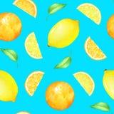 Sömlös modell med citrusfrukter och gräsplansidor på blå bakgrund Arkivbild