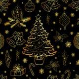 Sömlös modell med dekorativa beståndsdelar för guld- jul på svart bakgrund också vektor för coreldrawillustration royaltyfri illustrationer