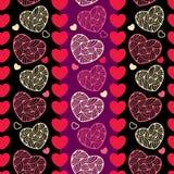 Sömlös modell med dekorativa hjärtor Stock Illustrationer