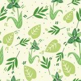 Sömlös modell med delikata gröna blommor och sidor på ljus bakgrund Vektordesign f?r utskrift stock illustrationer