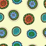 Sömlös modell med den abstrakta blomman stock illustrationer