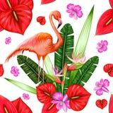 Sömlös modell med den exotiska tropiska blomman och flamingo royaltyfri illustrationer