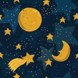 Sömlös modell med den gula månen, stjärnor och komet med framsidor Royaltyfri Fotografi