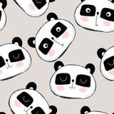 Sömlös modell med den gulliga pandaframsidan royaltyfri illustrationer