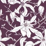 Sömlös modell med den hand drog magnoliablomman också vektor för coreldrawillustration stock illustrationer