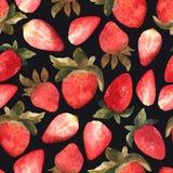 Sömlös modell med den isolerade hand drog röda jordgubben på blac Royaltyfri Bild
