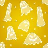Sömlös modell med den läskiga spöken och stjärnor stock illustrationer
