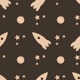 Sömlös modell med den ljusbruna kakasmällaren Raket, månen och stjärnan smällare-formade kakor vektor illustrationer