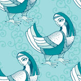 Sömlös modell med den mytologiska fågeln Serien av mytologiska varelser Stock Illustrationer
