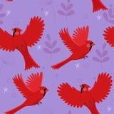 Sömlös modell med den röda huvudsakliga fågeln och små sidor ocks? vektor f?r coreldrawillustration stock illustrationer