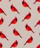 Sömlös modell med den röda kardinalen Prydnad för textil och inpackning vektor illustrationer