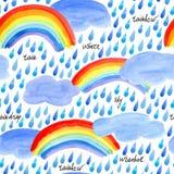 Sömlös modell med den regndroppar, moln och regnbågen Royaltyfri Fotografi
