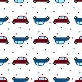 Sömlös modell med den retro bilar och pricken Plan desidn stock illustrationer