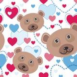 Sömlös modell med den roliga gulliga framsidabjörnen, rosa färg, blå hjärta på Royaltyfri Fotografi