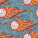 Sömlös modell med den volleybollbollar och flamman vektor illustrationer