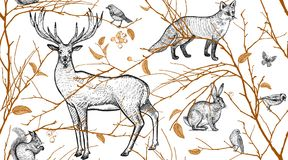 Sömlös modell med djur, fåglar och trädfilialer vektor illustrationer