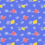 Sömlös modell med draken och himmel rolig sommar för bakgrund vektor illustrationer