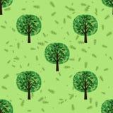 Sömlös modell med ekskogträd Arkivbilder