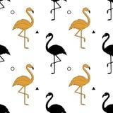 Sömlös modell med en kontur av en guld- flamingo på en vit bakgrund vektor En enkel modell Arkivfoto