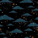 Sömlös modell med en natthimmel av molnstjärnor och konstellationer Hand-dragen illustrationbakgrund Härlig elegant magi a vektor illustrationer