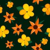 Sömlös modell med exotiska blommor stock illustrationer
