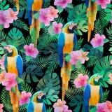 Sömlös modell med exotiska hibiskusblommor, papegoja, palmblad Royaltyfri Fotografi