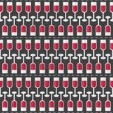 Sömlös modell med exponeringsglas av rött vin och ordvin vektor royaltyfri illustrationer