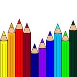 Sömlös modell med färgblyertspennor banret colors kurvillustrationingrepp ingen regnbågevektor vita Vektorillu stock illustrationer