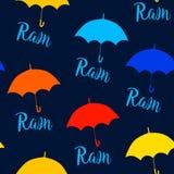 Sömlös modell med färgparaplyer stock illustrationer
