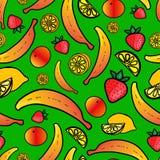 Sömlös modell med färgrik frukt Arkivbild