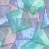 Sömlös modell med färgrika fyrkanter Vattenfärgblått, lilor och turkosbakgrund Royaltyfri Bild
