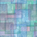 Sömlös modell med färgrika fyrkanter Vattenfärgblått, lilor och turkosbakgrund Royaltyfria Foton
