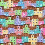 Sömlös modell med färgrika hus royaltyfri illustrationer