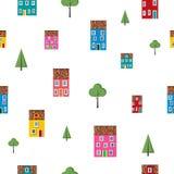 Sömlös modell med färgrika hus och träd Vektor Illustrationer