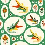 Sömlös modell med färgrika krokodiler och blommor Fotografering för Bildbyråer