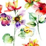 Sömlös modell med färgrika lösa blommor Royaltyfria Bilder