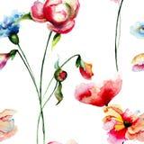 Sömlös modell med färgrika lösa blommor Arkivfoton