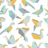 Sömlös modell med färgrika origamifåglar stock illustrationer
