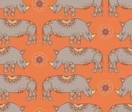 Sömlös modell med färgrika rhinoseroses Royaltyfria Bilder